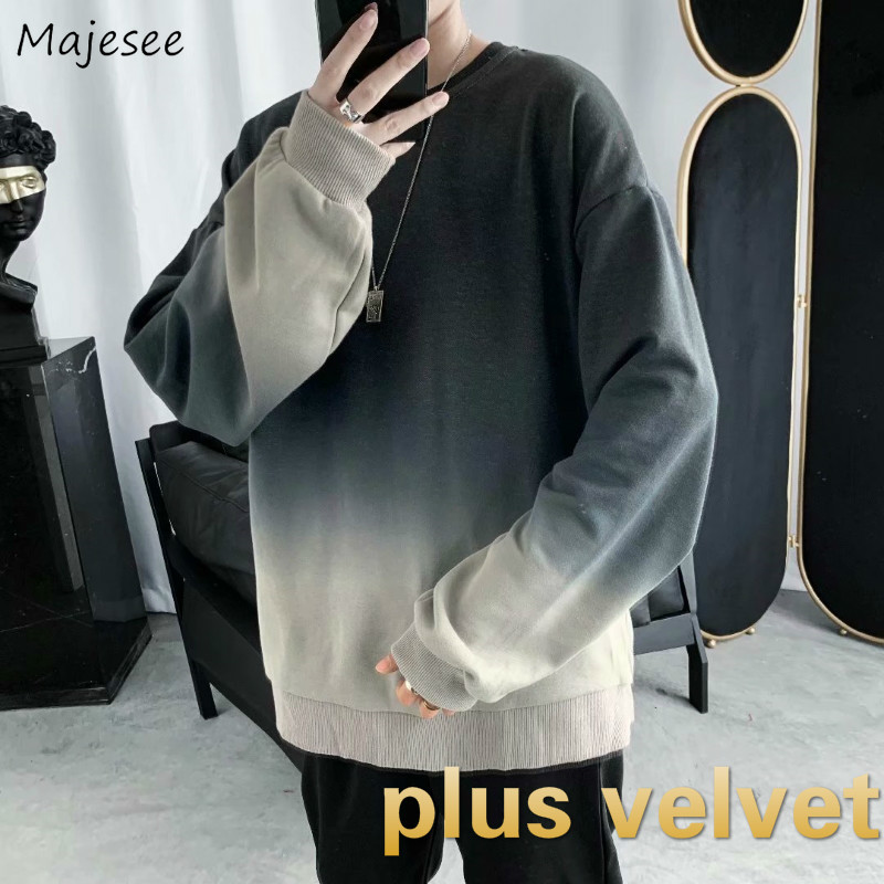 Men Hoodies O-neck Plus Velvet Loose Oversize Mens Korean Style Harajuku Simple All-match Leisure Chic Ins Retro Ulzzang New