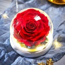 Новейшие розы красавицы и чудовища, Вечные розы в стеклянном куполе, романтические подарки на день Святого Валентина, подарок на Рождество, подарки на праздник