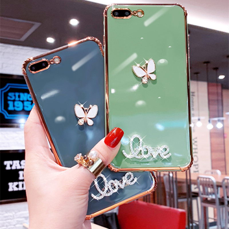Phone Case For OPPO A9 A5 2020 A11 A11X F3 A3 A77 A59 A57 A39 R9 R9S R11 R11S Plus R15 Soft Solid Color Rhinestone Diamond Cover image
