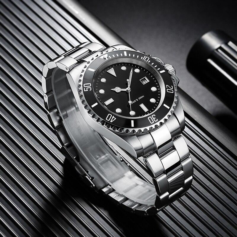 Addies relógio de mergulho 200m 2115 relógios de quartzo men c3 calendário super luminoso relógio de mergulho moda aço inoxidável relógios masculinos - 3