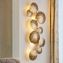 Led Wall Lamp Bedside Light Lotus Leaf Copper lamp decoration Living Room Background Wall Bedroom Hollow LotusInterior lighting(China)