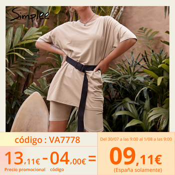 Simplee Casual Solid Outfits Women's Two Piece Suit with Belt Home Loose Sports Tracksuits Fashion Bicycle Summer Hot Suit 2020 1