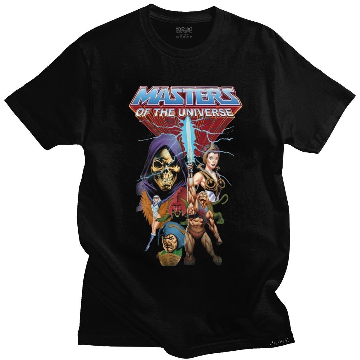 Klasik He-Man ve ustaları evren T Shirt erkek pamuk Anime Skeletor 80s She-ra Beast T-shirt kollu grafik Tee üst