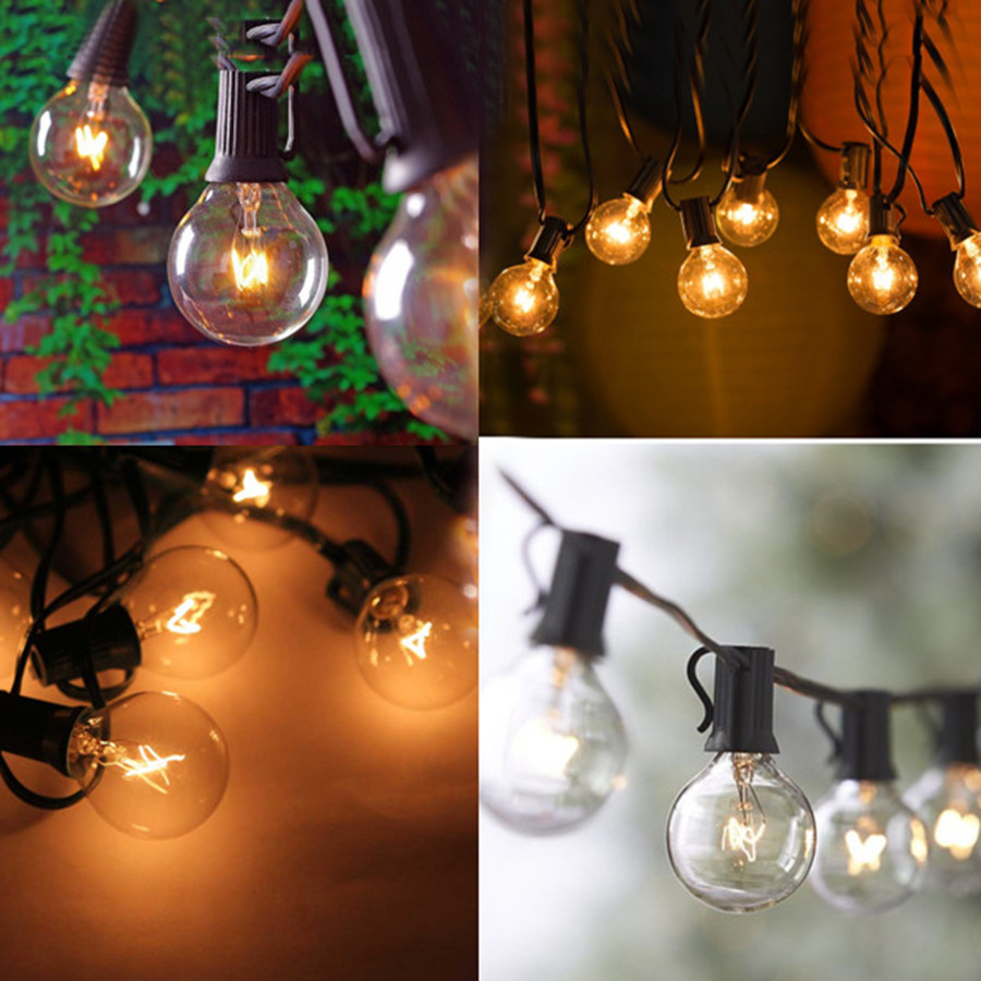 G40 25 Solar Bulbs LED  Filament String Light Waterproof Indoor Outdoor Garden Christmas Fairy Decoration
