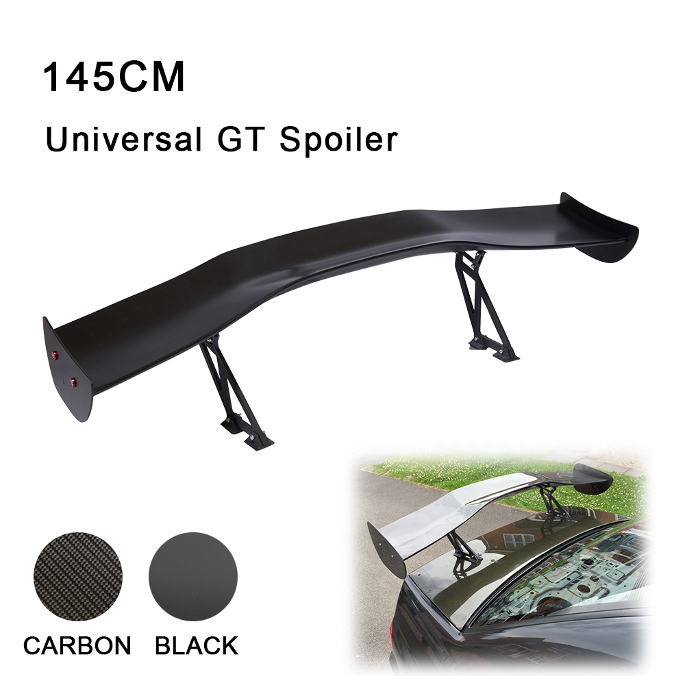 R-EP Racing Sport Car Spoiler 145cm Universal Fit For Most Of Sedan Car ABS Material Carbon Fiber Rear GT Wing XH-GT102