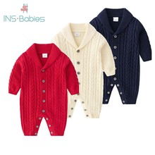2020 New Handsome rompers for Boys baby girls romper 3 Colors Long Sleeve Knitti
