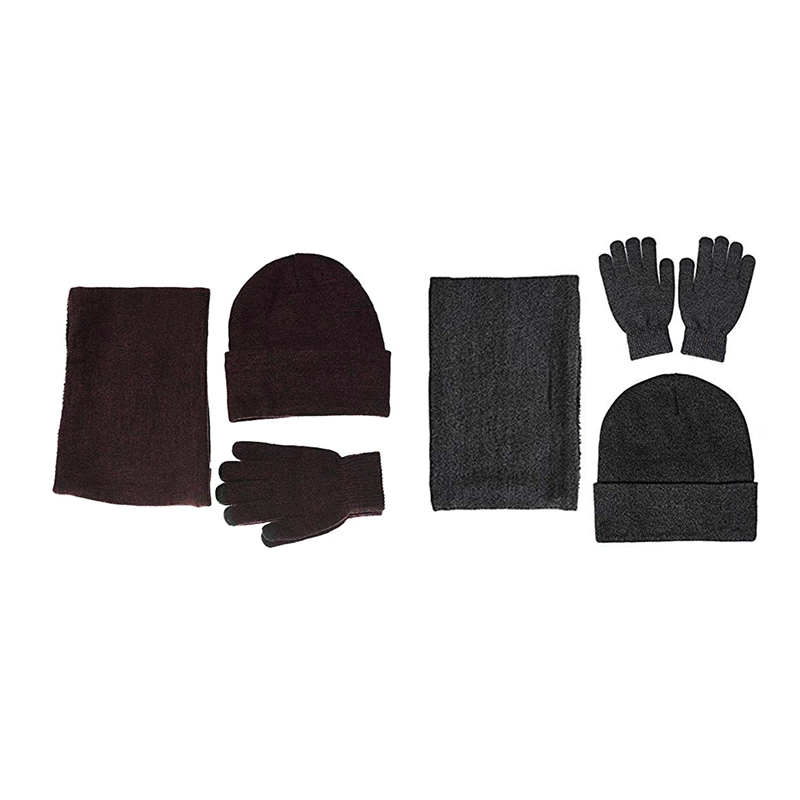 2 Sets Winter Warm Beanie Hat + Scarf + Press Screen Gloves, Unisex Thermal Winter Warm Knitted Beanie Hat Neck Glove For Men Wo