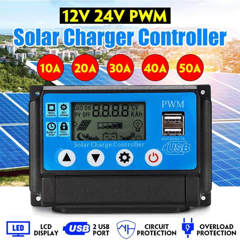 10A//20A//60A PWM Solar Panel Battery Regulator Charge Controller 12V//24V Dual USB