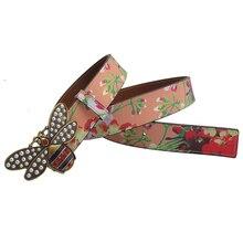 الغربية حجر الراين بيل النحل مشبك طباعة المرأة حزام جلد موضة الجينز فستان سيدة حزام