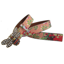 Western Rhinestone Peal Bee Buckle Print Women Leather Belt Fashion Jeans Dress Lady