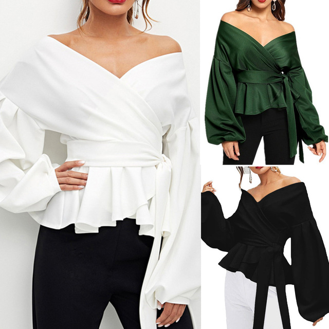 Fashion Women Long Sleeve BlouseCasual  Up Shirts Elegant Asymmetric Tops Sexy strapless lantern sleeve top bow  waist shirt 1