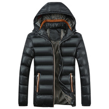 Mens New Solid Color and Hat Trimmed Cotton Suit Winter Jackets Coats Down Parkas