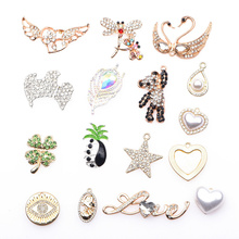 Free Shipping 1 Pcs Metal Croc Shoes Charms Bling Rhinestone Decorations Shinny Butterfly Cat Bracelet Accessories Maple Bear