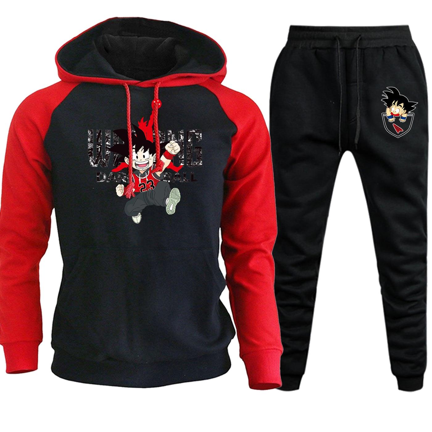 Streetwear Mens Raglan Hooded Autumn Winter 2019 Dragon Ball Cartoon Casual Fleece Sweatshirt Hoodie Suit+Sweatpants 2 Piece Set