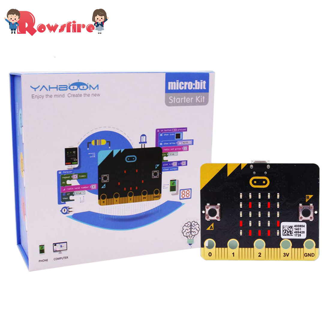 2Type 1 Pcs Micro:Bit Kit Starter Learning Kit Micro Bit Board Graphical Programmable STEM Toys With Guidance Manual For Kids