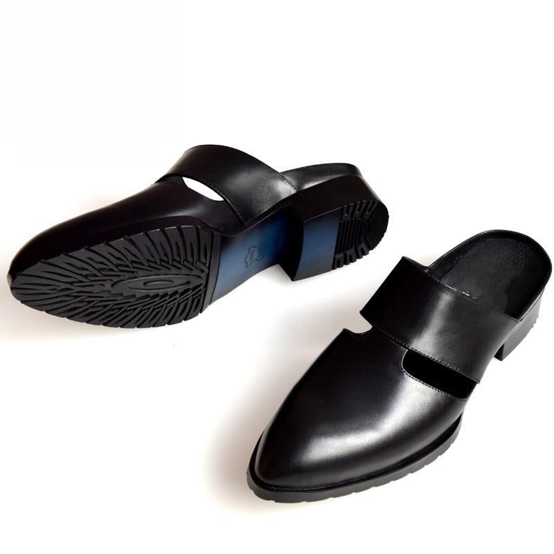 Brand Casual Men Slipper Genuine Leather Italian Dress Sandals Pointed Male Shoes Summer Designer Beach Sandals Mocassin Homme