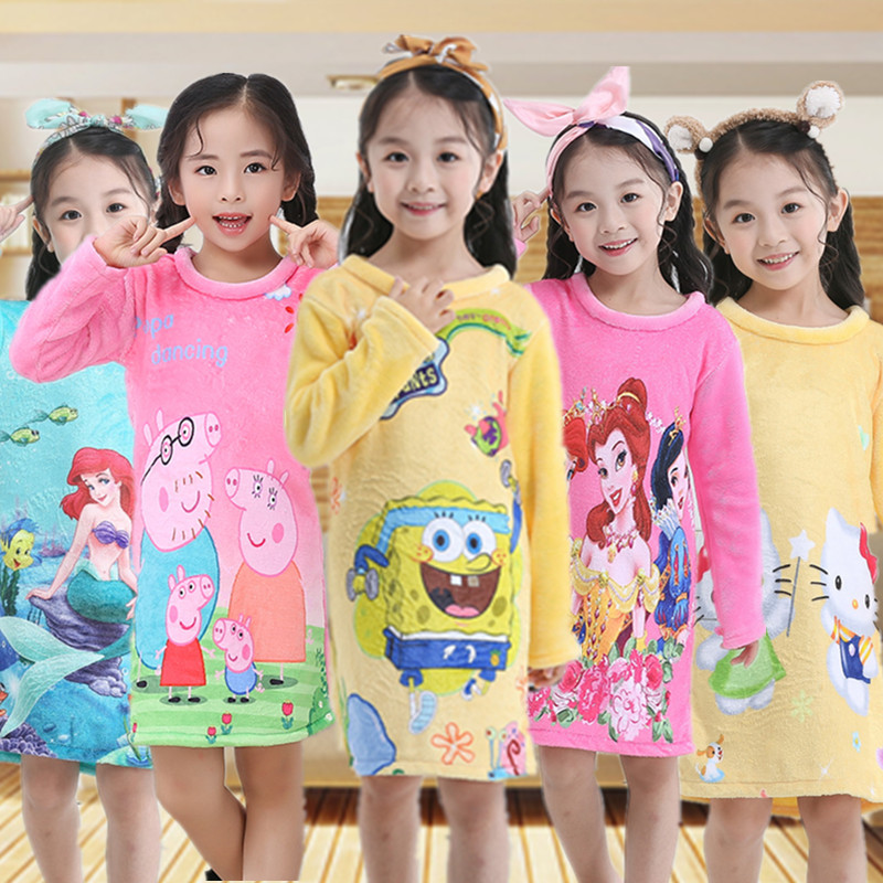 Spring, Autumn And Winter 2 Long Sleeve 3 Children 4-Flannel 5 Nightgown 6 Baby 7 Girls 8 Princess Skirt 9-Year-Old Coral Velvet