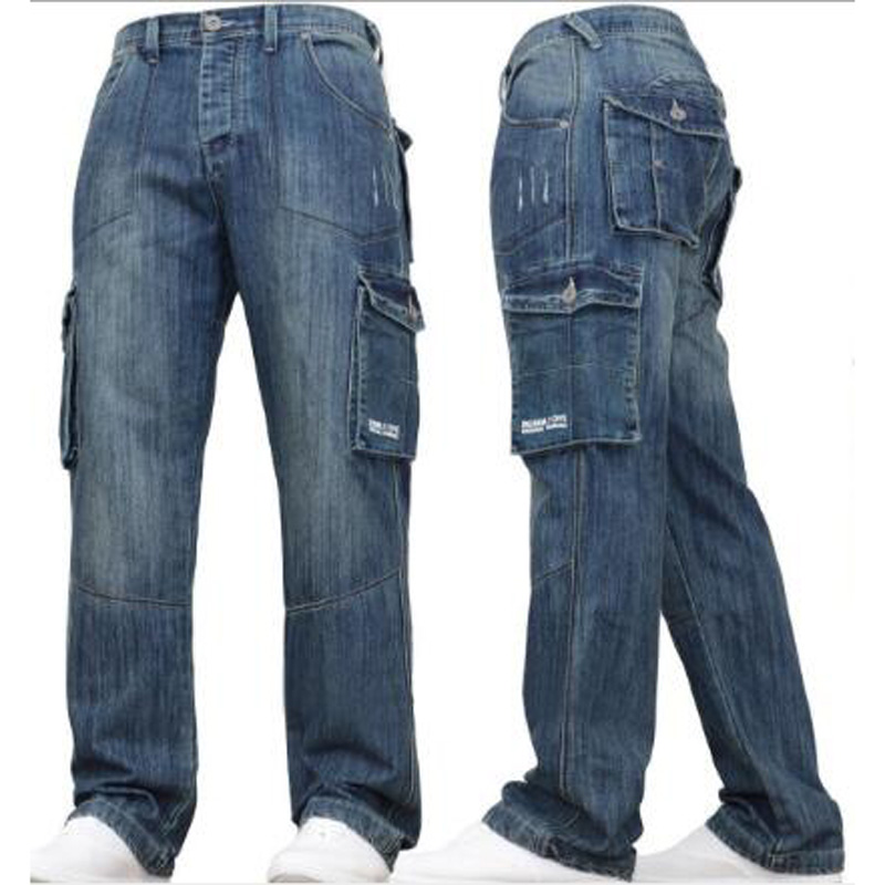 Man Jeans Men Pants  Straight Cotton Male Loose Denim Jeans More Pocket Overalls High Quality