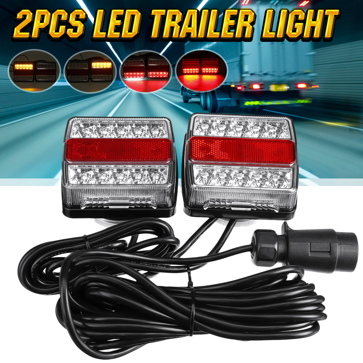 2X 12V 5 Functions 30 LED Trailer Tail Towing Light Rear Indicator Brake Reflector Number Plate Powerful Magnet Easy Fit