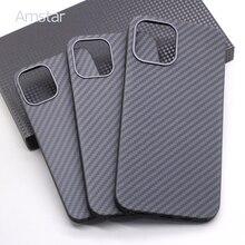 Amstar Real Carbon Fiber Telefoon Case Voor Iphone 12 Pro Max Ultra Dunne Anti Val Carbon Fiber Hard Cover gevallen Voor Iphone 12 Mini