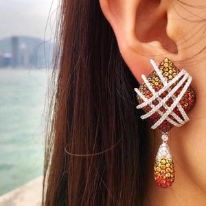 Image 1 - GODKI Famous 2019 Charms Waterdrop Trendy Women Earrings Cubic Zircon Drop Earring For Women Wedding Party Accessories