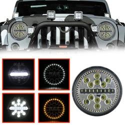 La luz led ultra delgada vectra para coche 63 w, luz de rendimiento de motocicleta para automóvil, Faro de jeep wrangler de 7 pulgadas