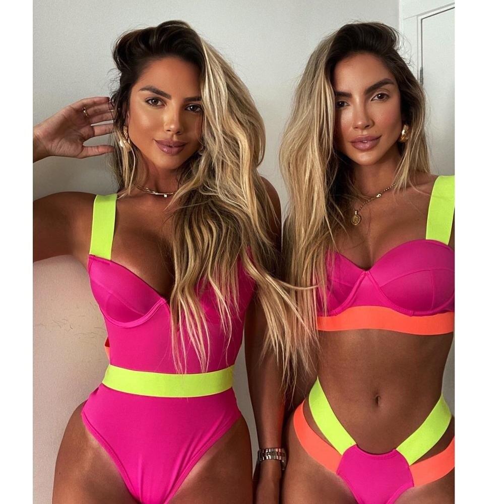 2021 New Sexy Bikini Black Push Up Swimsuit Women Swimwear Splicing Bathing Suit Beach Swimming Suit