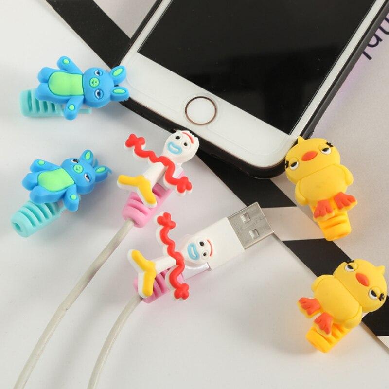 Juguete historia 4 Buzz Lightyear Forky conejo y Ducky lindo Usb cargador Protector para Iphone android Cable de cargador Protector cifras juguete
