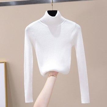2020 Women Autumn Winter Top Knitted Turtleneck Sweater Fashion Slim Femme Elasticity Pullovers Soft