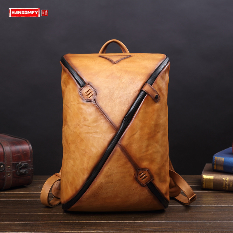 New Vintage Leather Men's Backpack Men Laptop Bag Fashion Male  Travel Backpacks Casual Computer Bag Hit Color Trend School Bags