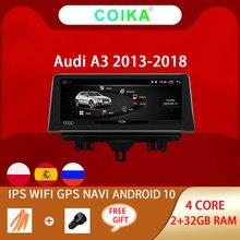 COIKA-reproductor Multimedia con GPS para coche, reproductor con Android 10, WIFI, 2 + 32GB RAM, BT, Google, pantalla IPS, estéreo, para Audi A3 2003-2012