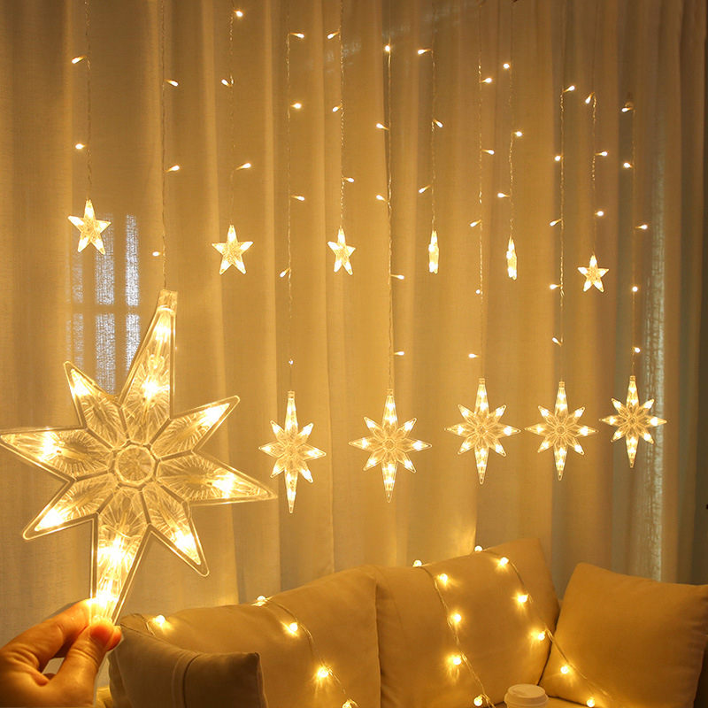 2.5M LED North Star Curtain Light 220V EU Christmas Garland String Fairy Lights Outdoor For Window Wedding Party New Year Decor