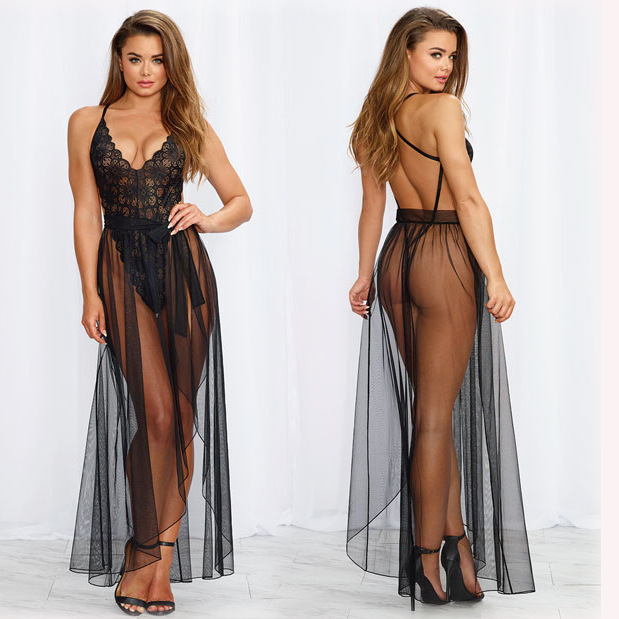Europe And America New Style Long Sexy Underwear Sexy Long Skirts Women's Temptation Perspective Dress Outfit Cross Border Hot S
