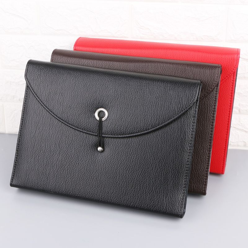 Fashion A4 Business Bag Men Lady Leather Pouch Paper File Folders Package Messenger Bags 13 Layers D08B