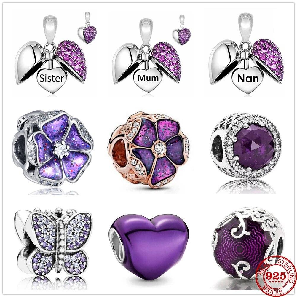 Новый 925 стерлингового серебра фиолетовый Sister для мам и дочек, поселок Nan на крючках; Узор «бабочки» и «любовь» бисер подходит к подлинным бр...