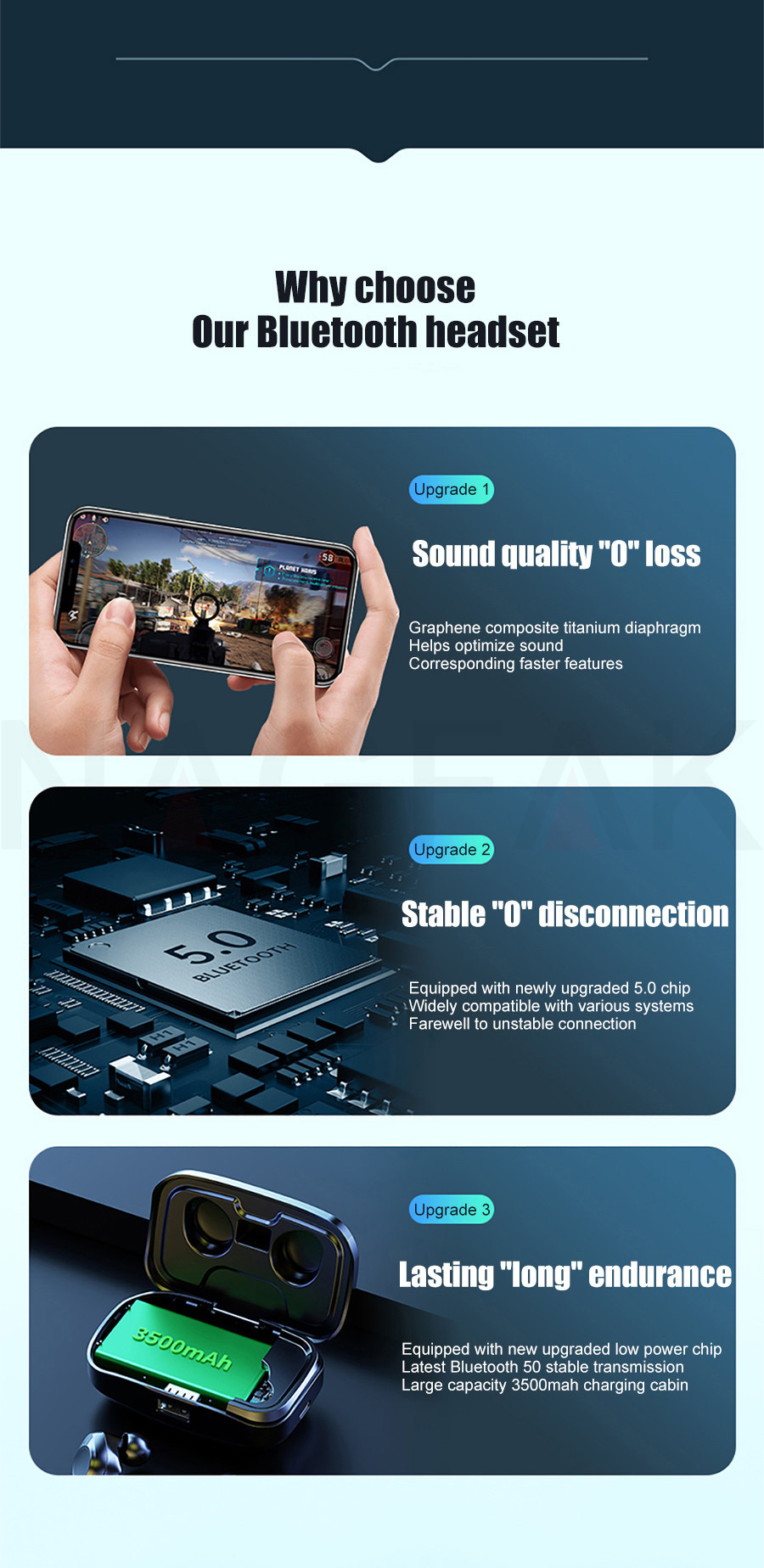 TWS Bluetooth 5.0 Earphones 3500mAh Charging Box Wireless Headphone 9D Stereo Sports Waterproof Earbuds Headsets With Microphone