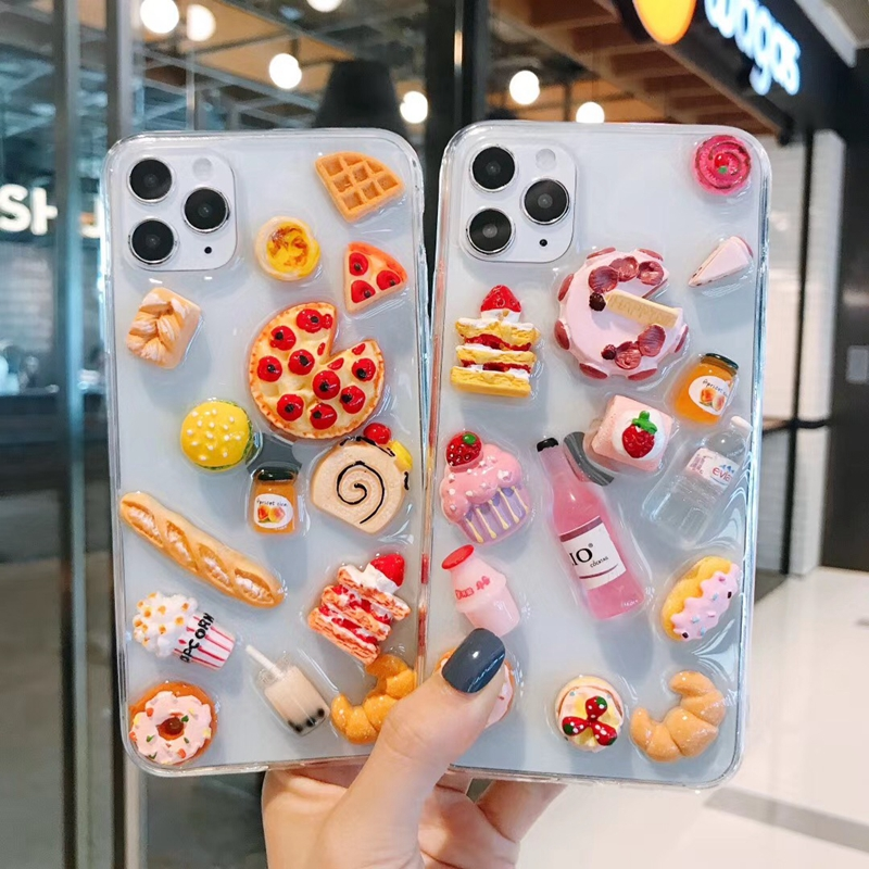 Cute 3D Pizza Strawberry Cake Epoxy Phone Case For Iphone 11 X XS MAX Xr 7 8 Plus SE 2020 12 Pro Max Macaron Cover