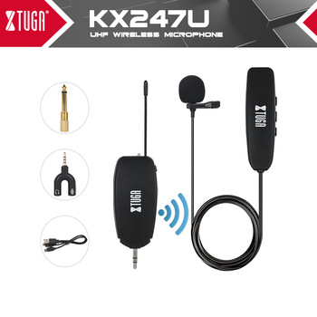 XTUGA UHF Wireless Lavalier Lapel Microphone System,Live Recording Mic with Rechargeable Transmitter&Receiver for Podcast,Vlog professional lavalier lapel unidirectional condenser microphone for sennheiser wireless bodypack transmitter 3 5 mm lockable