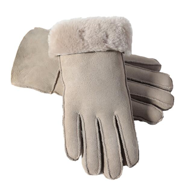 Men's Women's Autumn Winter Thicken Warm Natural One Piece Wool Fur Leather Glove Male Winter Brand Wool Fur Mitten R2218