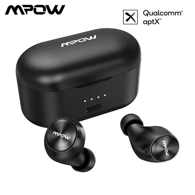 Mpow m8 fones de ouvido sem fio tws aptx bluetooth 5.0 fones com ipx7 à prova dwaterproof água microfone cancelamento ruído para iphone 11 gamer