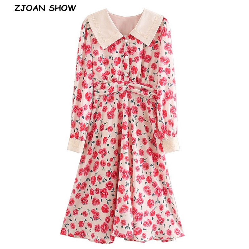 2020 Spring Retro Palace Red Flower Print Long Sleeve Dress Vintage Woman Peter Pan Collar Ruched Slim Waist Shirt Long Dresses
