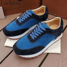 Hot Lace Up Men Shoes Round Toe Thick Bottom Sneakers Runway Blue Male Casual Shoes