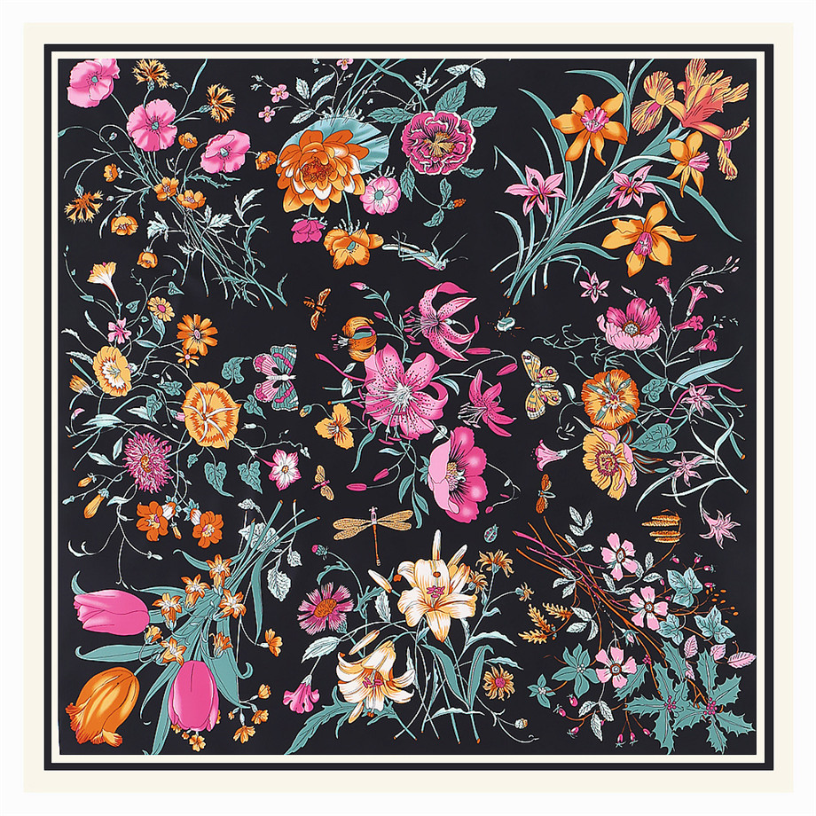 130cm Luxury Brand Twill Silk Scarf Women Winter Square Scarf Design Floral Kerchief Scarves For Ladies Fashion Shawl Echarpe