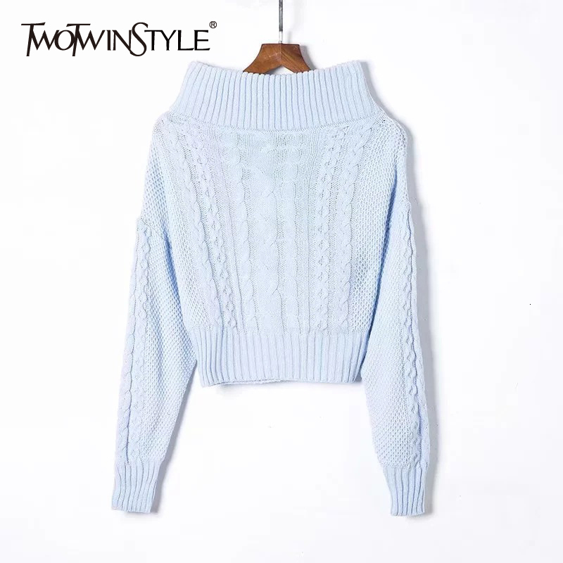 TWOTWINSTYLE Sexy Off Shoulder Knitting Sweater Female Slash Neck Long Sleeve Striped Autumn Pullovers Clothing Fashion 2019 New
