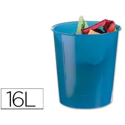 BIN PLASTICO Q-CONNECT BLUE TRANSLUCENT 16 LITER