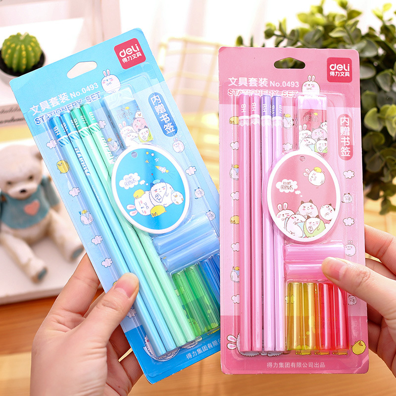 Deli 0493 Stationery Set 4 Pencil + 4 Pen + 2 PCs Pen Sheath + Rubber + Bookmark Blue And Red
