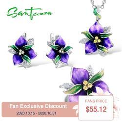 Santuzza Sieraden Set Voor Vrouwen 925 Sterling Zilveren Paarse Bloem Cz Stenen Ring Oorbellen Hangende Mode-sieraden Handgemaakte Emaille
