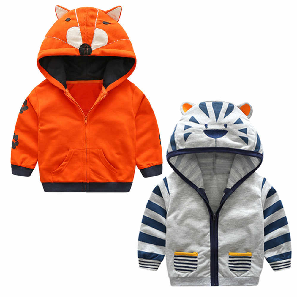 2019 Kids Clothes Boys Jackets Children Animal Hooded Zipper Windbreaker Print Coat Infant Hoodies Tops Clothes Coat For Girls