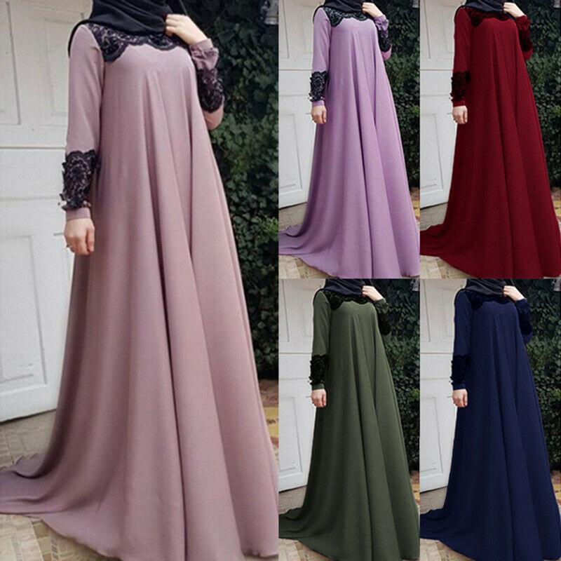 Plus Size Women Muslim Long Sleeve Maxi Dress Cocktail Loose Casual Party Kaftan Long Robe Vintage Islamic Dubai Arab Ramadan