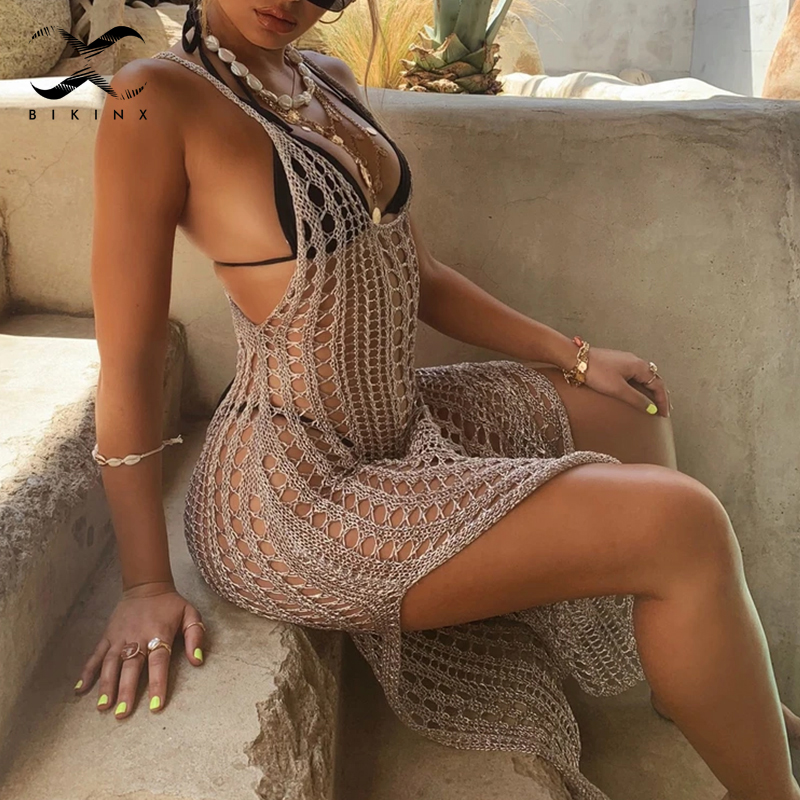 Hollow Out Sexy Swimsuit Cover-ups 2020 New Split Long Beachwear Women Crochet Tunic Beach Dress Knitted Cover Up Robe De Plage